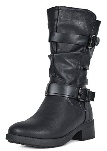 DREAM-PAIRS-Womens-Pocono-Black-Faux-Fur-Mid-Calf-Riding-Winter-Boots-Size-65-M-US-0