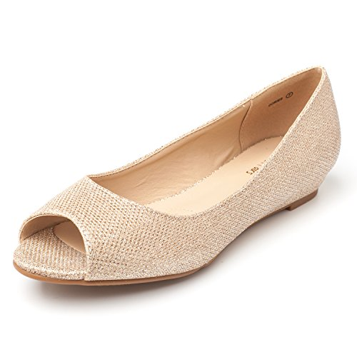 DREAM-PAIRS-Womens-dories-Gold-Glitter-Low-Wedge-Peep-Toe-Flats-Shoes-Size-75-M-US-0