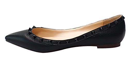 Guoar-Womens-Sexy-Rivets-Stud-Buckle-Shallow-Mouth-Pointed-Toe-Flat-Black-lychee-Pump-Shoes-US9-0