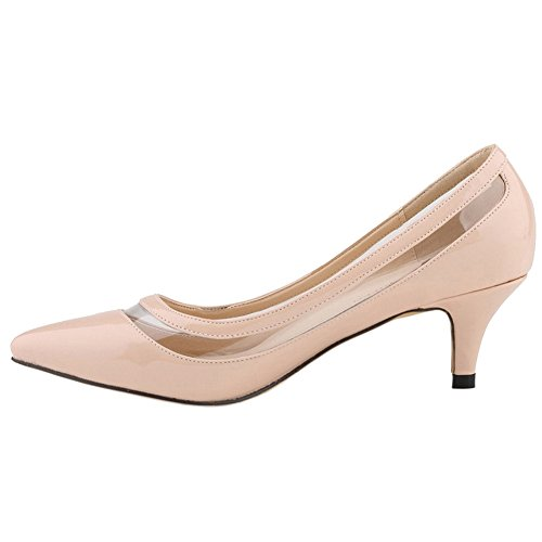 AP-003 Casual Women's Transparent Low Heel Shoes Pointy Toe Daily Dress Pumps