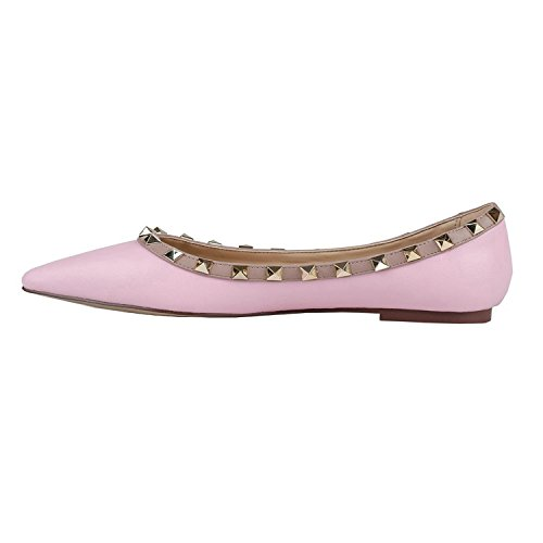 VOCOSI-Pointed-Toe-Flats-For-Women-Fashion-Rivets-Studs-Comfort-Ballet-Flats-Shoes-M-Pink-6-US-0
