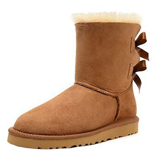 Women's Comfy Winter Faux Furry Leather Ankle Booties Bowknot Low Heels Snow Boots Shoes