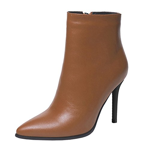 VOCOSI-Womens-High-Heels-Ankle-Boots-Leather-Pointed-Toe-Zipper-Classic-Booties-Brown-42-CN-0