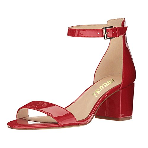 VOCOSI-Womens-Open-Toe-Strappy-Chunky-Heels-Ankle-Strap-Buckle-Sandals-Shoes-P-Red-9-US-0