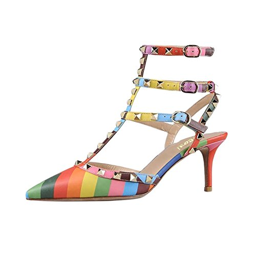 VOCOSI-Womens-Rivets-Buckle-Studded-T-Strap-Pointed-Toe-Kitten-Heels-Fashion-Sandals-multicolored-6-US-0