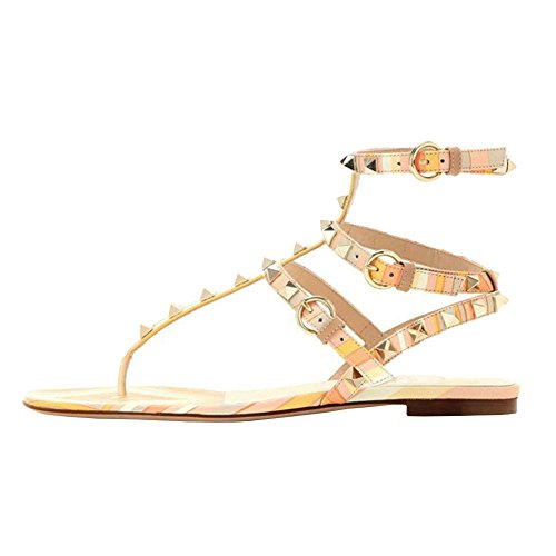 VOCOSI-Womens-Rivets-Studded-Flats-Shoes-T-Strap-Strappy-Flats-Thong-Sandals-Shoes-Yellow-8-US-0