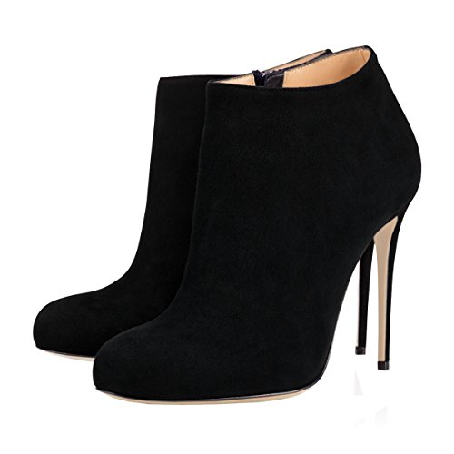 Women's Round Toe Ankle Boots Stilettos High Heels Classic Dress Booties