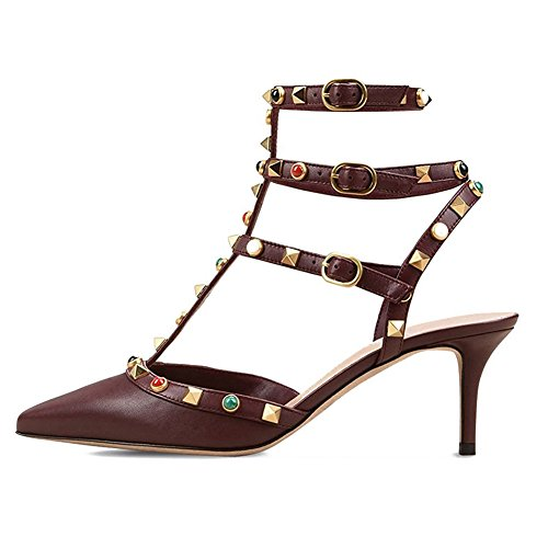 VOCOSI-Womens-Sexy-Studs-Strappy-Shoes-Stilettos-Middle-Heels-Pointed-Toe-Sandals-Burgundy-Matte-75-US-0