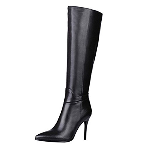 VOCOSI-ZB-030-Womens-Classic-Side-Zip-High-Heels-Riding-Boots-Pointy-Toe-Knee-High-Dress-Boot-Black-10-US-0