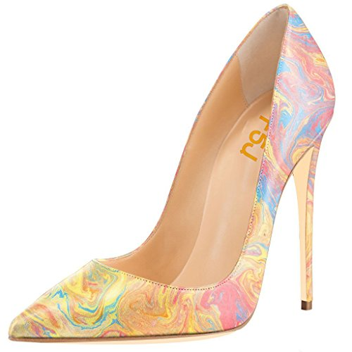 FSJ-Women-Slender-High-Heels-Pumps-Pointed-Toe-Stilettos-For-Natural-Beauty-Size-8-Watercolor-0
