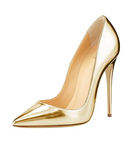 Guoar-12CM-Pointed-Toe-Pumps-Women-Gold-Shoes-us9-0