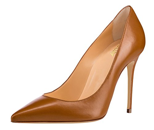 Guoar-Womens-Classic-Pointed-Toe-High-Heels-Stiletto-PU-Pumps-Dress-Shoes-Sandals-size-5-12-US-Brown-US-5-0