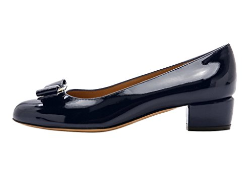 Guoar-Womens-Closed-Toe-Block-Heels-Patent-Bowknot-Pumps-Shoes-Low-Heels-For-Dress-Party-Navy-US-12-0