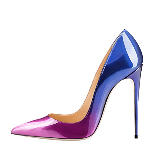 Guoar-Womens-Gradient-Shallow-Pointed-Toe-High-Heels-Blue-To-Purple-Pumps-Shoes-US8-0