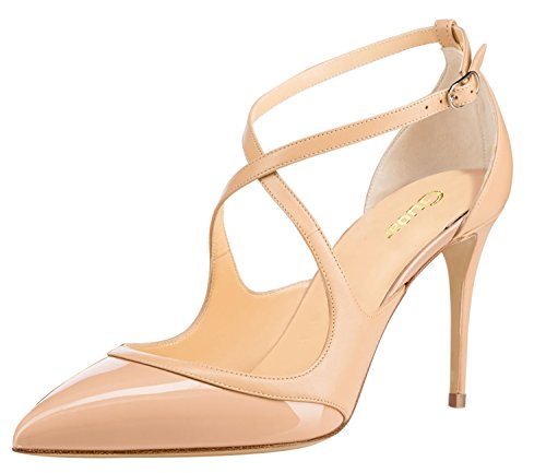 Guoar-Womens-Pointed-Toe-Cross-Abkel-Strap-High-Heel-Shoes-Stiletto-Pumps-Comfort-Dress-Shoes-size-5-12-Nude-US-5-0