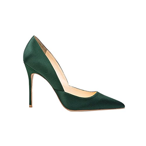 Guoar-Womens-Pointed-Toe-High-Heel-Shoes-Stiletto-Pumps-V-Cut-Dress-Shoes-size-5-12-Dark-Green-Satin-US-9-0