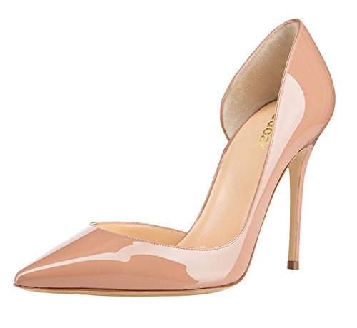 Guoar-Womens-Pointy-Toe-Stiletto-High-Heesl-DOrsay-Pumps-Party-Wedding-Prom-Dress-Shoes-size-5-12-Nude-Patent-US-6-0