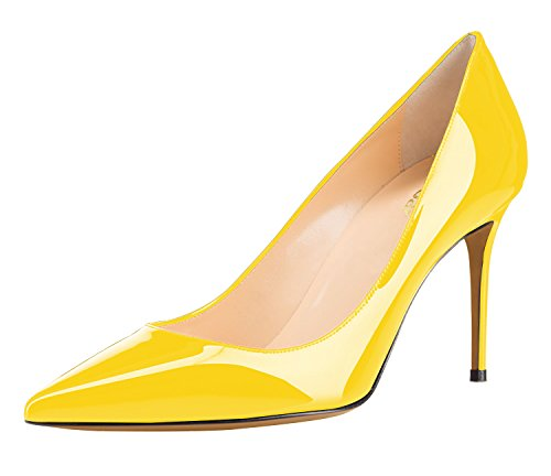 Guoar-Womens-Sexy-Pointed-Toe-Shallow-85CM-High-Heel-Pumps-yellow-Shoes-US8-0