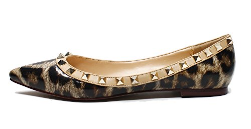 Guoar-Womens-Sexy-Rivets-Stud-Buckle-Shallow-Mouth-Pointed-Toe-Flat-Leopard-Pump-Shoes-US8-0