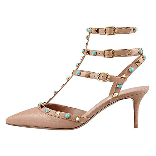MERUMOTE-Womens-Y-107-2-Pointed-Toe-High-Heels-Shoes-Mixed-Colors-Rivets-Thin-Straps-Pumps-Shoes-US-55-15-0