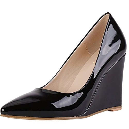 MERUMOTE-Womens-Y-218-Patent-Wedges-Pumps-Classic-Pointed-Toe-High-Heels-Size-55-15-0