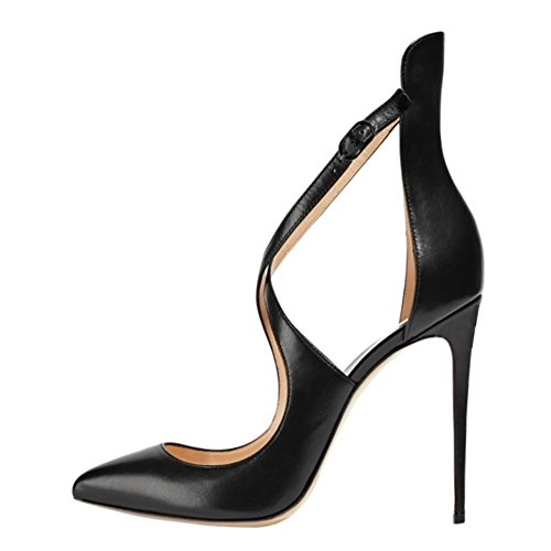 MERUMOTE-Y-196-Women-Cross-Strap-Strappy-High-Heels-Pointed-Toe-Pumps-Shoes-US-55-15-0