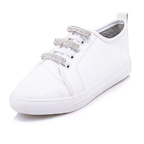 New-Casual-Women-Flats-Round-Toe-Platform-Crystal-Lace-Up-Footwear-Fashion-Spring-Handmade-Girl-White-Shoes-Big-Size-0