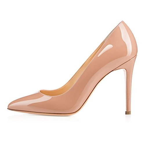 Sammitop-Womens-Pointed-Toe-Classic-Dress-Pumps-10cm-High-Heels-Slip-On-Party-Office-Dress-Shoes-0