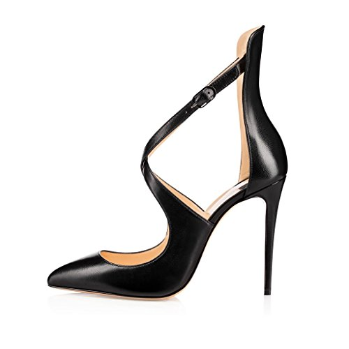 Sammitop-Womens-Pointed-Toe-Cross-Straps-Pumps-10cm-Stiletto-Heel-Ankle-Strap-Dress-Shoes-0