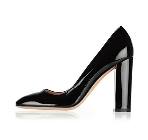 Sammitop-Womens-Round-Toe-Patent-High-Block-Heel-Pumps-Chunky-Heels-Office-Dress-Shoes-0