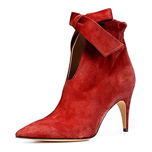 XYD-Classical-Pointy-Toe-Ankle-Booties-Dress-Low-Kitten-Heel-Graceful-Boots-For-Women-Size-10-Red-0