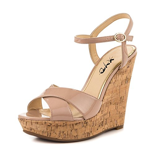 XYD-Comfort-Platform-Cork-Wedges-Slingback-Shoes-Peep-Toe-Sandals-Ankle-Strap-High-Heels-For-Women-Size-5-Nude-0