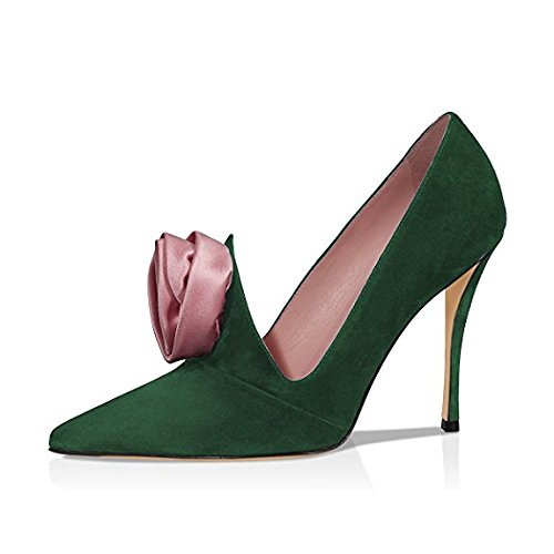 XYD-Evening-Elegant-Dress-Pumps-Suede-Pointed-Toe-High-Heels-Stilettos-Rose-Flower-Shoes-For-Women-Size-10-Dark-Green-0