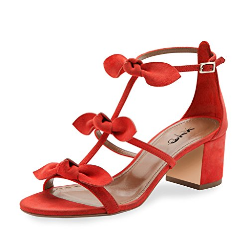 XYD-Prom-Party-Dress-Shoes-Cute-T-Strap-Block-Heel-Gladiator-Sandals-Open-Toe-Bows-Pumps-For-Women-Size-8-Red-0