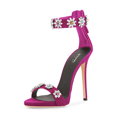 XYD-Sexy-Rhinestones-Party-Stilettos-Heels-With-Flowers-Ankle-Strap-Open-Toe-Zipper-Sandals-For-Women-Size-85-Fuchsia-0