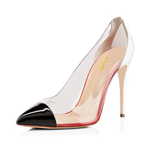 XYD-Stylish-Slip-On-High-Heel-Stilettos-Transparent-Dress-Pointed-Toe-Pumps-for-Women-Size-11-Black-and-White-0