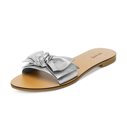 XYD-Summer-Slide-Sandals-Slip-On-Comfortable-Slippers-Solid-Women-Loafer-Shoes-With-Bowknot-Size-14-Silver-0
