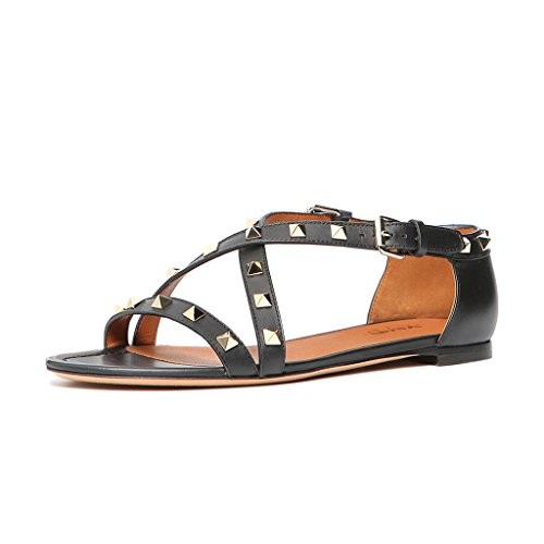 XYD-Vintage-Studded-Strappy-Sandals-Open-Toe-Flat-Shoes-Crisscross-Strap-Women-Summer-Loafers-Size-15-Black-0