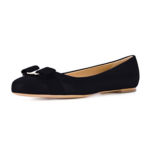 XYD-Women-Comfort-Round-Toe-Ballet-Flats-Slip-On-Dress-Daily-Walking-Shoes-With-Bows-Size-15-Black-0