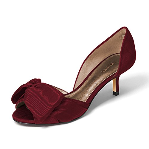 XYD-Women-Low-Heel-DOrsay-Pumps-Peep-Toe-Slip-On-Dress-Sandals-Shoes-With-Bowknot-Size-11-Red-0