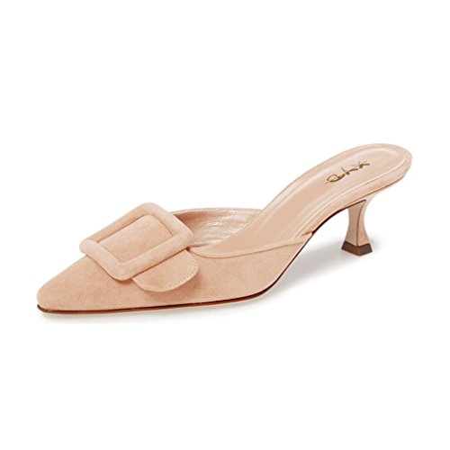 XYD-Women-Mule-Pointy-Toe-Sandals-Suede-Slip-On-Low-Kitten-Heel-Buckle-Slide-Shoes-Size-95-Nude-0