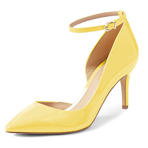 XYD-Women-Pointed-Toe-DOrsay-Mid-Heel-Pumps-Ankle-Strap-Buckled-Wedding-Party-Dress-Shoes-Size-7-Yellow-0