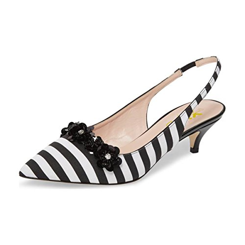 XYD-Women-Slingback-Stiletto-High-Heels-Pumps-Pointed-Toe-Floral-Wedding-Party-Basic-Dress-Shoes-Size-9-Black-and-White-0