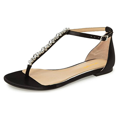 XYD-Women-T-Strap-Thong-Sandal-Flats-Rhinestone-Slide-Ankle-Strap-Flip-Flop-Shoes-With-Buckles-Size-15-Black-0