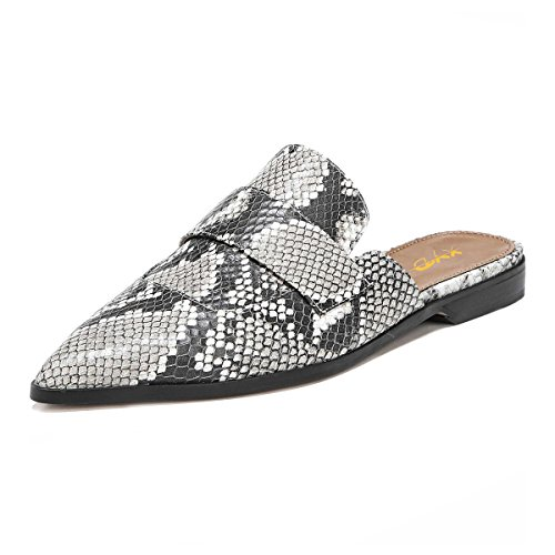 XYD-Womens-Retro-Backless-Slip-On-Loafers-Flat-Pointed-Toe-Mule-Slipper-Shoes-Size-8-Snakeskin-0