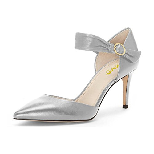 XYD-Womens-Retro-Mid-Heel-DOrsay-Pointed-Toe-Cut-Out-Ankle-Strap-Buckles-Dress-Pumps-Size-8-Silver-0
