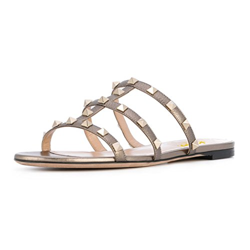 XYD-Women-Strappy-Summer-Sandals-Studded-T-Strapy-Slip-On-Flats-Low-Heel-Easy-On-Dress-Slippers-0