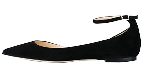 AOOAR-Womens-DOrsay-Ankle-Strap-Black-Suede-Flats-12-M-US-0