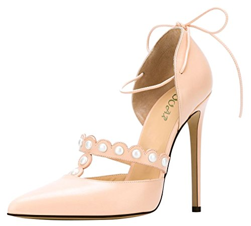 AOOAR-Womens-Pearl-Decoration-Lace-up-Pink-PU-Dress-Pumps-12-M-US-0