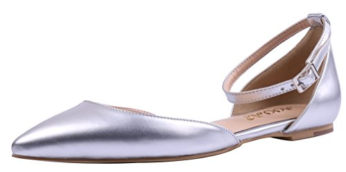 AOOAR-Womens-Two-Piece-Ankle-Strap-Silver-PU-Flats-13-M-US-0